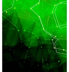 Dots with connections triangles light background vector image