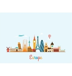 Europe skyline Travel and tourism background vector image