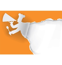 Paper Chef with megaphone vector image vector image