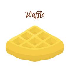 sweet belgian waffle for breakfast cartoon style vector image