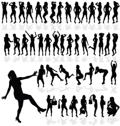 girl sexy in black silhouette vector image