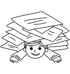 Happy young boy littered with paper sheets vector image vector image