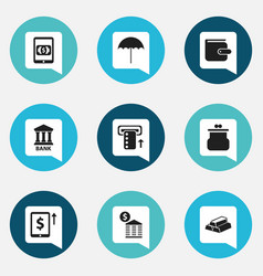 Set of 9 editable finance icons includes symbols vector