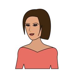 color image cartoon half body woman with straight vector image vector image