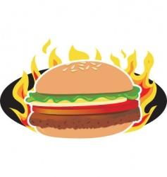 flaming hamburger vector image