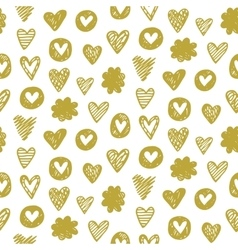 heart pattern in golden color vector image vector image