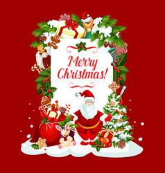 merry christmas santa greeting card vector image vector image