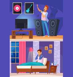 neighbor during karaoke cartoon composition vector image