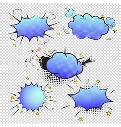 Set of pop art comic bubbles on transparent vector image vector image