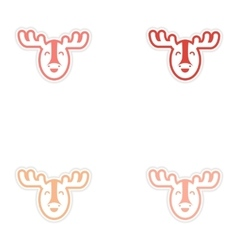 Set of stickers canadian moose on white background vector