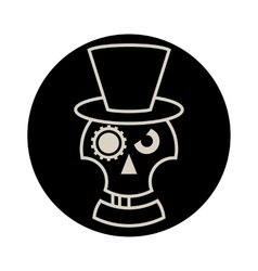Skull in hat cylindre vector