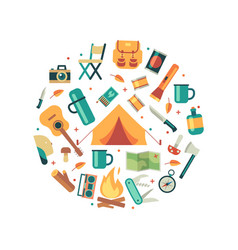 tourists equipment travel and hiking icons vector image