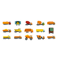 truck icon set flat style vector image vector image