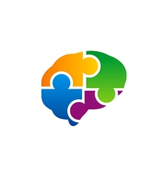 Brain puzzle colorful logo vector