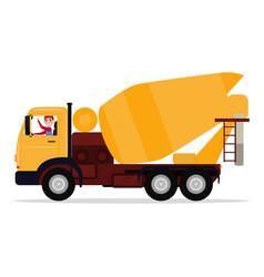 cartoon driver man on truck concrete mixer vector image