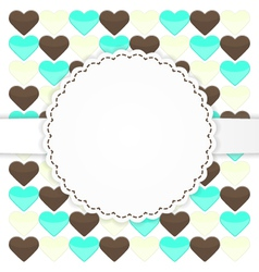 Colorful greeting card template with hearts vector image vector image