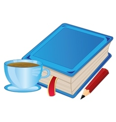 Cup coffee and book vector image vector image