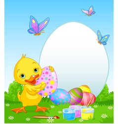 Easter Duckling painting Easter Eggs vector image vector image