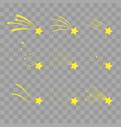 falling stars set shooting stars isolated vector image vector image