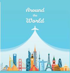 World landmarks Travel and tourism background vector image vector image