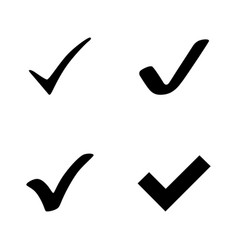 4 black check mark icons set of black check mark vector image