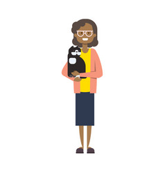 African woman with pets full length avatar vector