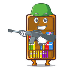 Army mascot bookcase beside the study desk vector