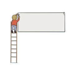 Attaching signboard vector