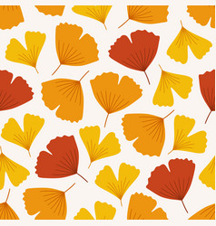 Autumn seamless pattern with colorful ginkgo vector