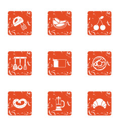 Batter icons set grunge style vector