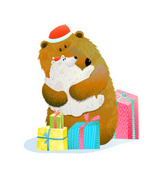 Bear and cub celebrate christmas new or new year vector