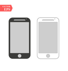Black and white smartphone with blank screen vector