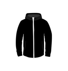 black hooded jacket fashion style item vector image