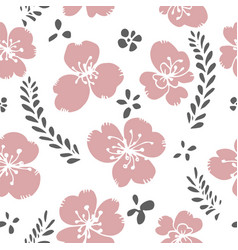 blooming flower with leaves floral pattern print vector image