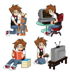 boy doing different activities vector image