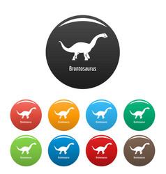 Brontosaurus icons set color vector