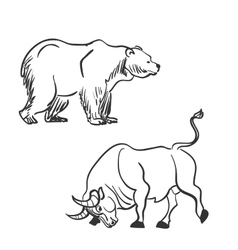 Bull and bear financial doodle icons vector