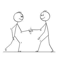 cartoon of two men or businessmen shaking hands vector image