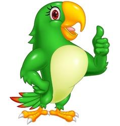 Cartoon parrot giving thumb up vector
