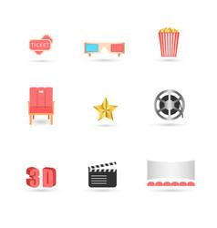 cinema icons set movie web site creative 3d vector image