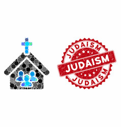 Collage church people with textured judaism stamp vector