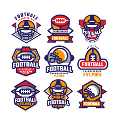 Collection of colorful american football logo vector