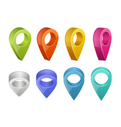 colored map pointers various colors of gps vector image
