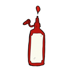 Comic cartoon ketchup bottle vector