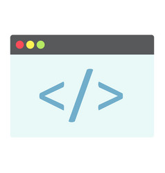 custom coding flat icon seo and development vector image