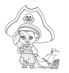 cute cartoon boy in pirate costume and huge hat vector image