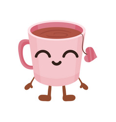 cute cup of tea with smiling face funny fast food vector image