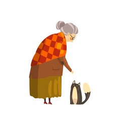 Cute granny and her black cat lonely old lady and vector