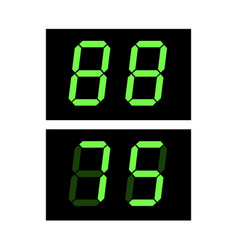 Digital screen template with green digits 88 vector