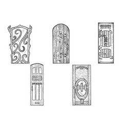 doors wooden sketch engraving vector image